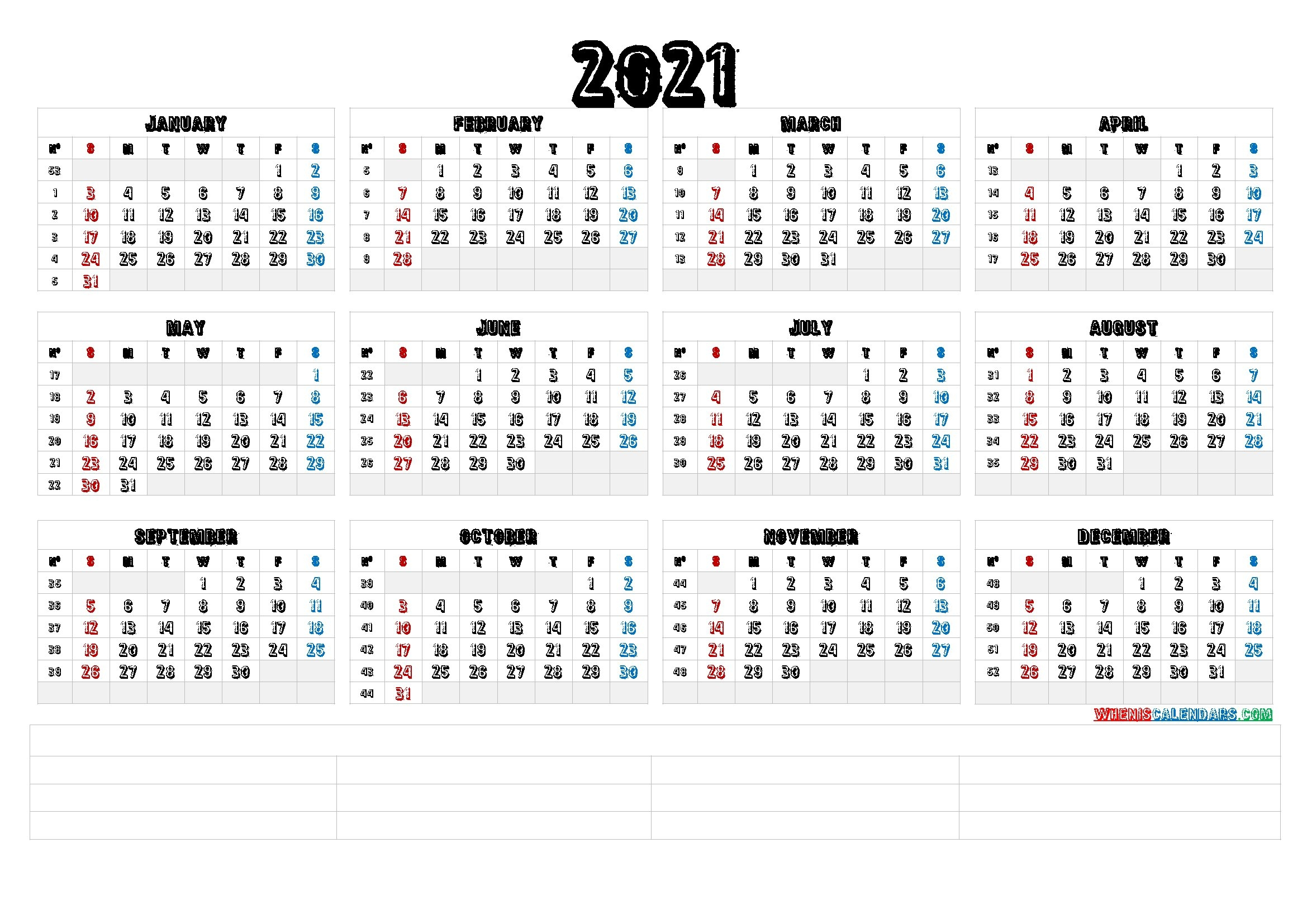 2021 Calendar With Week Numbers Printable (6 Templates) - Free Printable 2020 Monthly Calendar intended for 2021 Calendar Image By Week Numbers Graphics