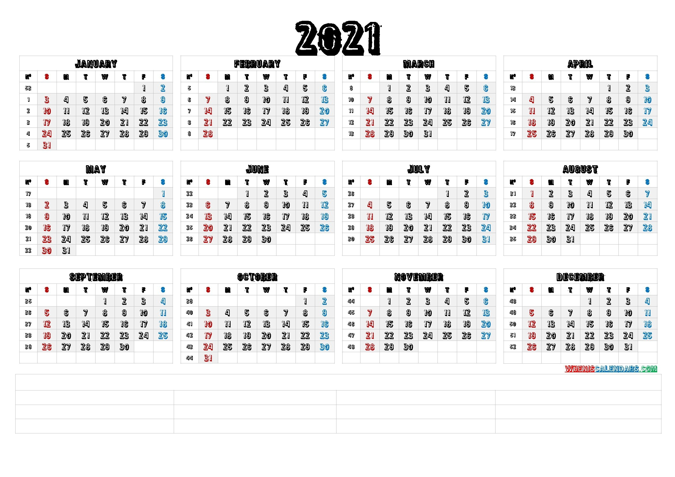 2021 Calendar With Week Numbers Printable (6 Templates) - Free Printable 2020 Monthly Calendar with regard to Weeks Of The Year Calendar 2021