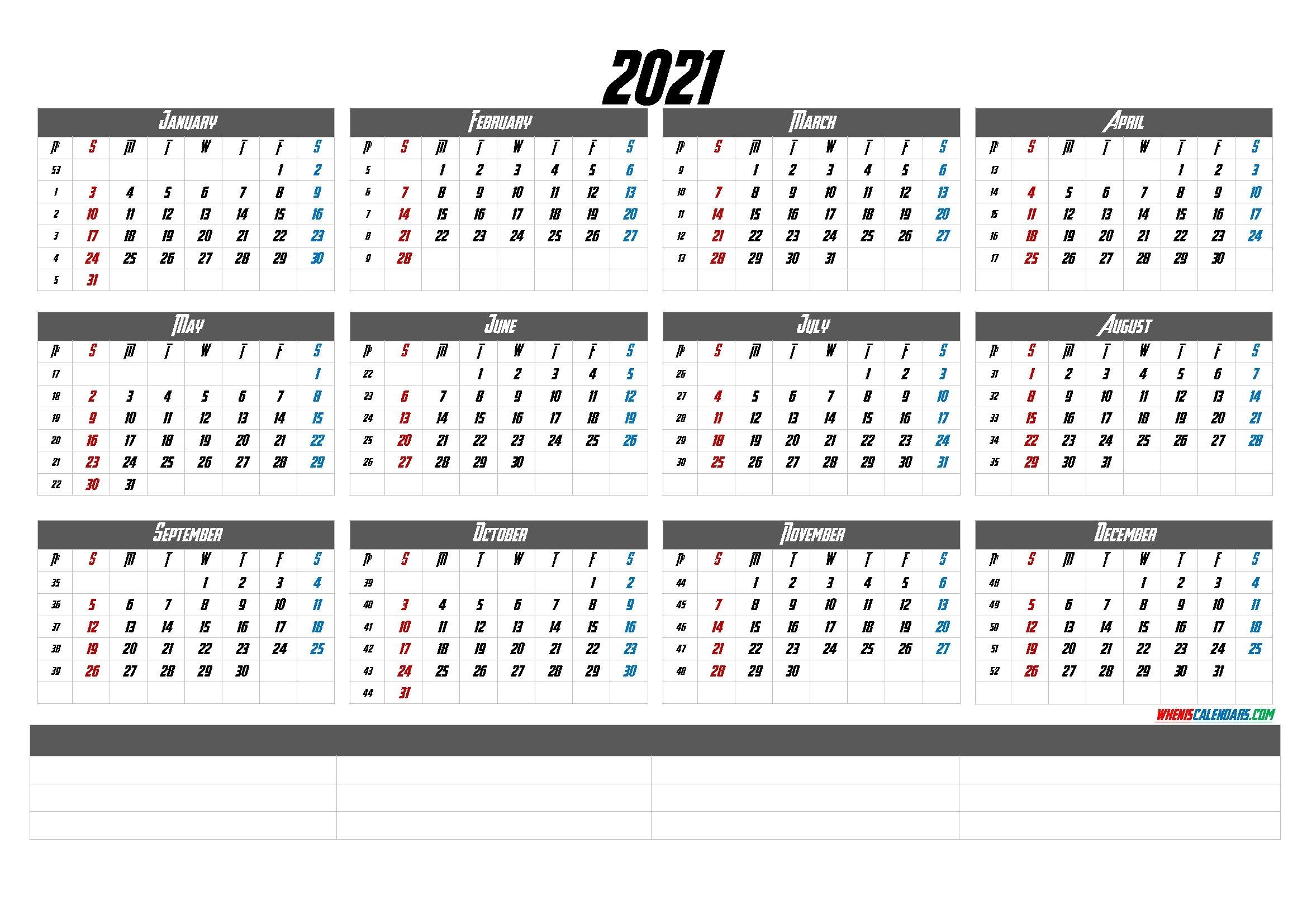 2021 Calendar With Week Numbers Printable (6 Templates) in Calendar For Year 2021 With Weeks Numbered