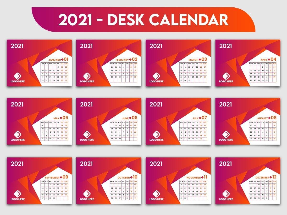 2021 Creative Desk Calendar Template Designrubel Ahmad On Dribbble with regard to 2021 Photo Calendar Template