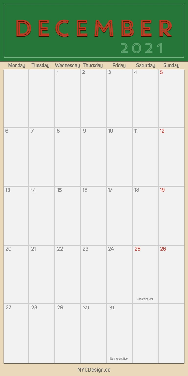 2021 December - Monthly Calendar With Holidays, Printable Free, Pdf - Monday Start - Nycdesign for 2021 Monthly Calendar With Holidays Printable Pdf Photo