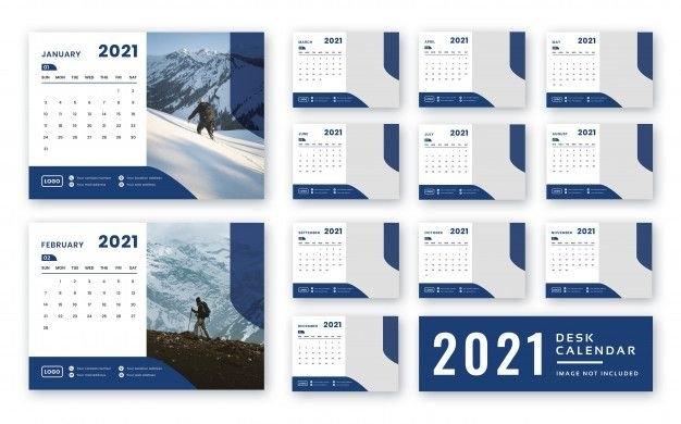 2021 Desk Calendar Template In 2020 | Desk Calendar Template, Calendar, Vector Business Card throughout Calendar 2021 Ziua Up Photo