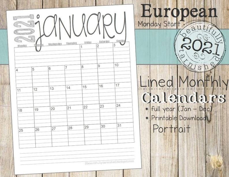 2021 European Lined Monthly Calendars Portrait Full Year | Etsy intended for 2021 Monthly Calendar With Lines Printable Image