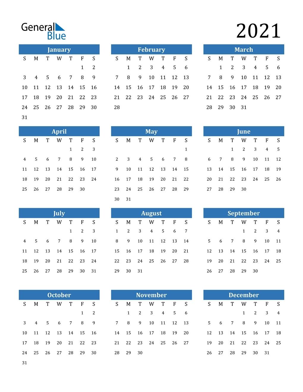2021 Excel Printable Calendars • Printable Blank Calendar Template pertaining to Print Calendar 2021 In Excel