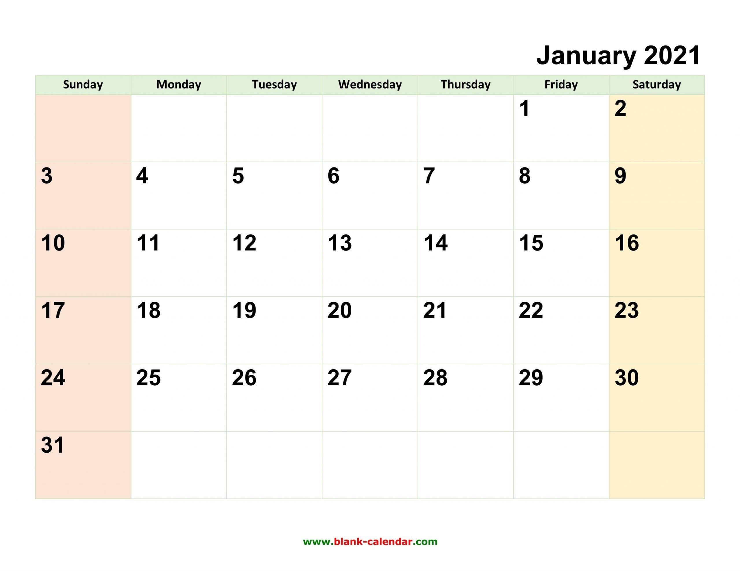 2021 Full Calendar With Spaces   Calendar Template Printable in Large Print Free Printable Calendar 2021