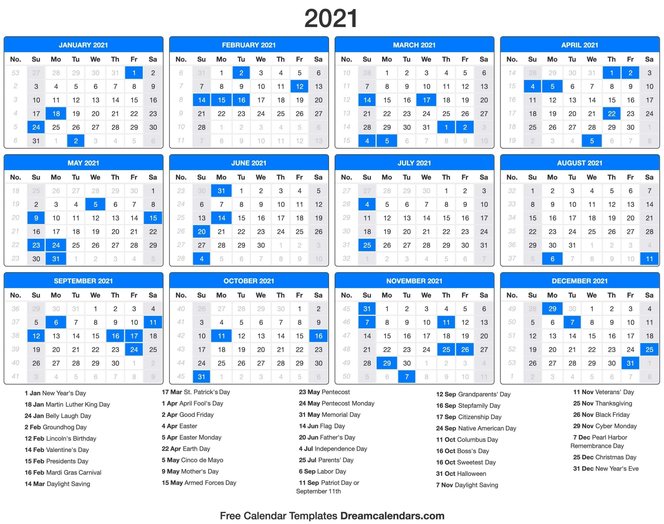 2021 Holidays - Free Download Printable Calendar Templates inside 2021 Calendar With Numbered Days