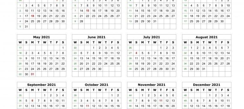 2021 Julian Calendar With Week Numbers | Printable Calendar Template 2021 in Julian Calendar For 2021