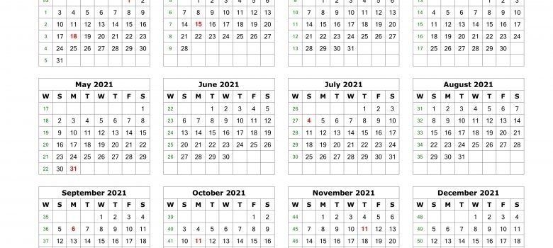 2021 Julian Calendar With Week Numbers | Printable Calendar Template 2021 with regard to 2021 Printable Julian Date Calendar Image