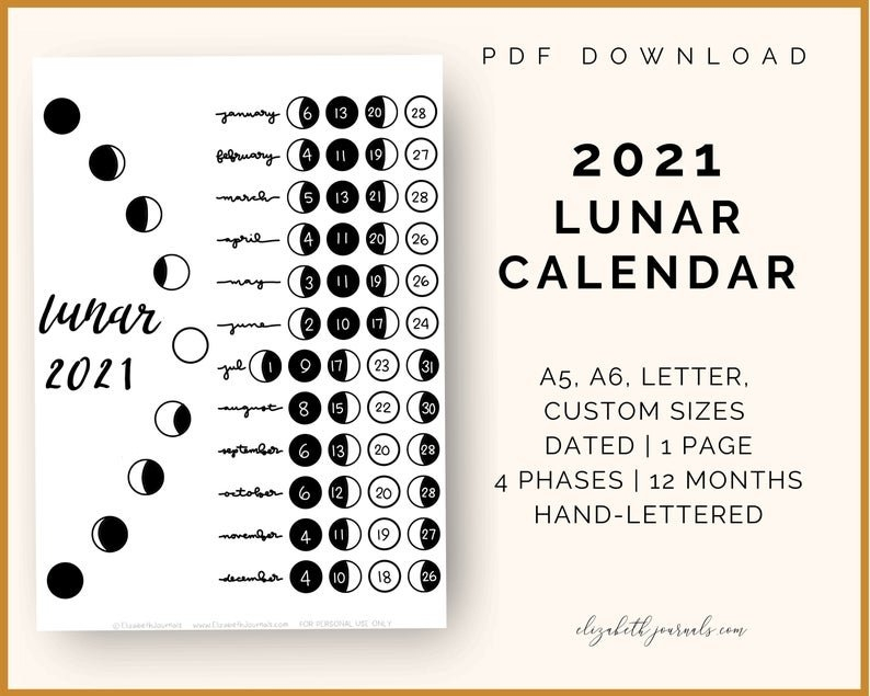 2021 Lunar Calendar A6 A5 Letter And Custom Size | Etsy in 2021 Moon Phase Calendar Printable