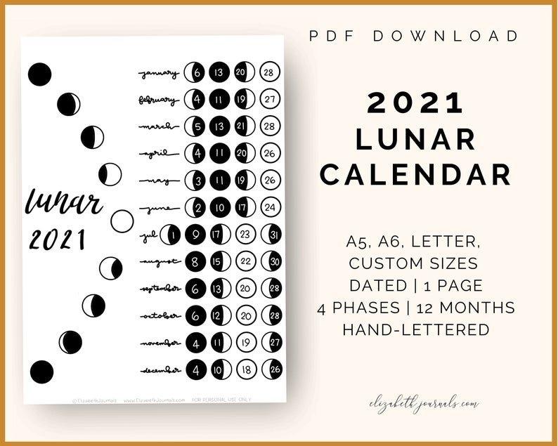 2021 Lunar Calendar A6 A5 Letter And Custom Size   Etsy with Lunar Moon Calendar 2021