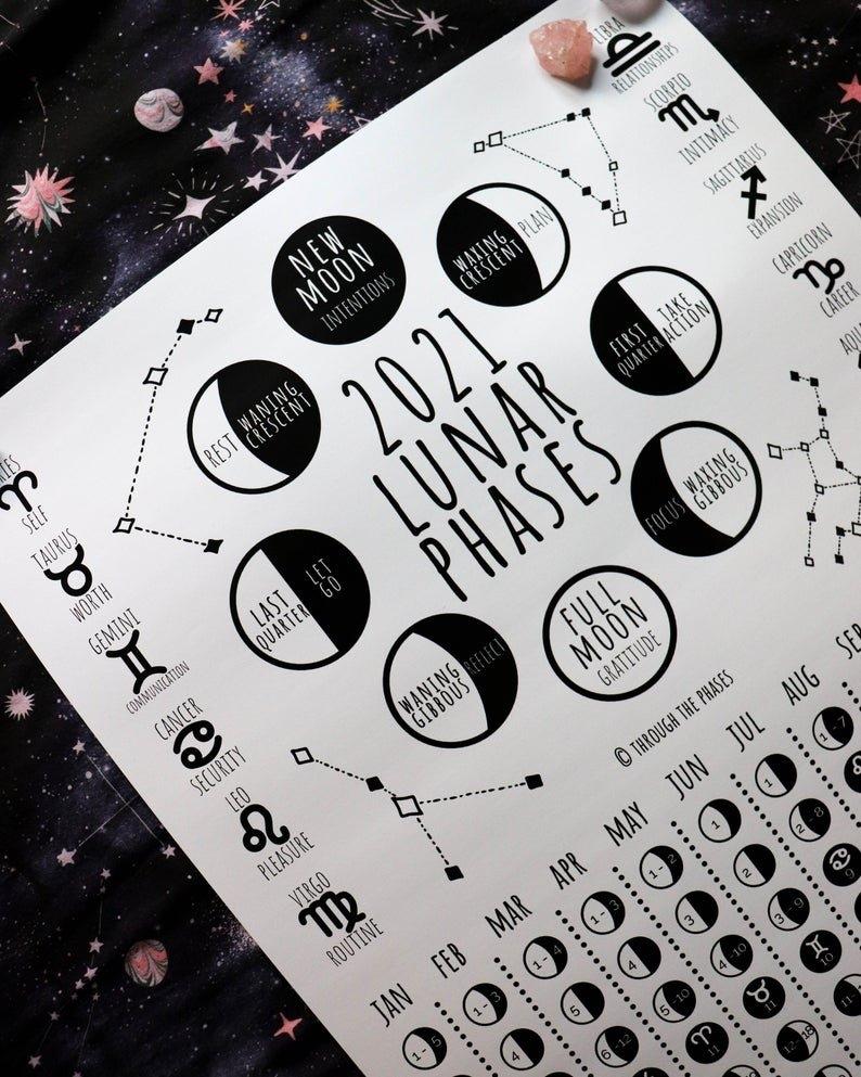 2021 Lunar Calendar Printable / Moon Phase Calendar / Lunar | Etsy intended for Lunar Calendar 2021 Picture Healer