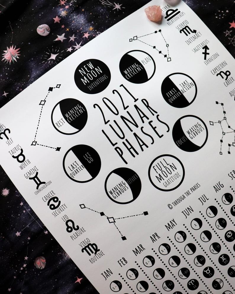 2021 Lunar Calendar Printable / Moon Phase Calendar / Lunar | Etsy within 2021 Calendar With Moon Phase