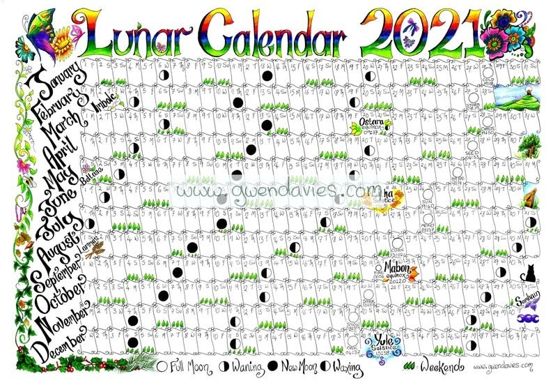 2021 Lunar Moon Calendar Hand Drawn A4 Gardening Astrology | Etsy intended for Full Moon Calendar 2021 Printable