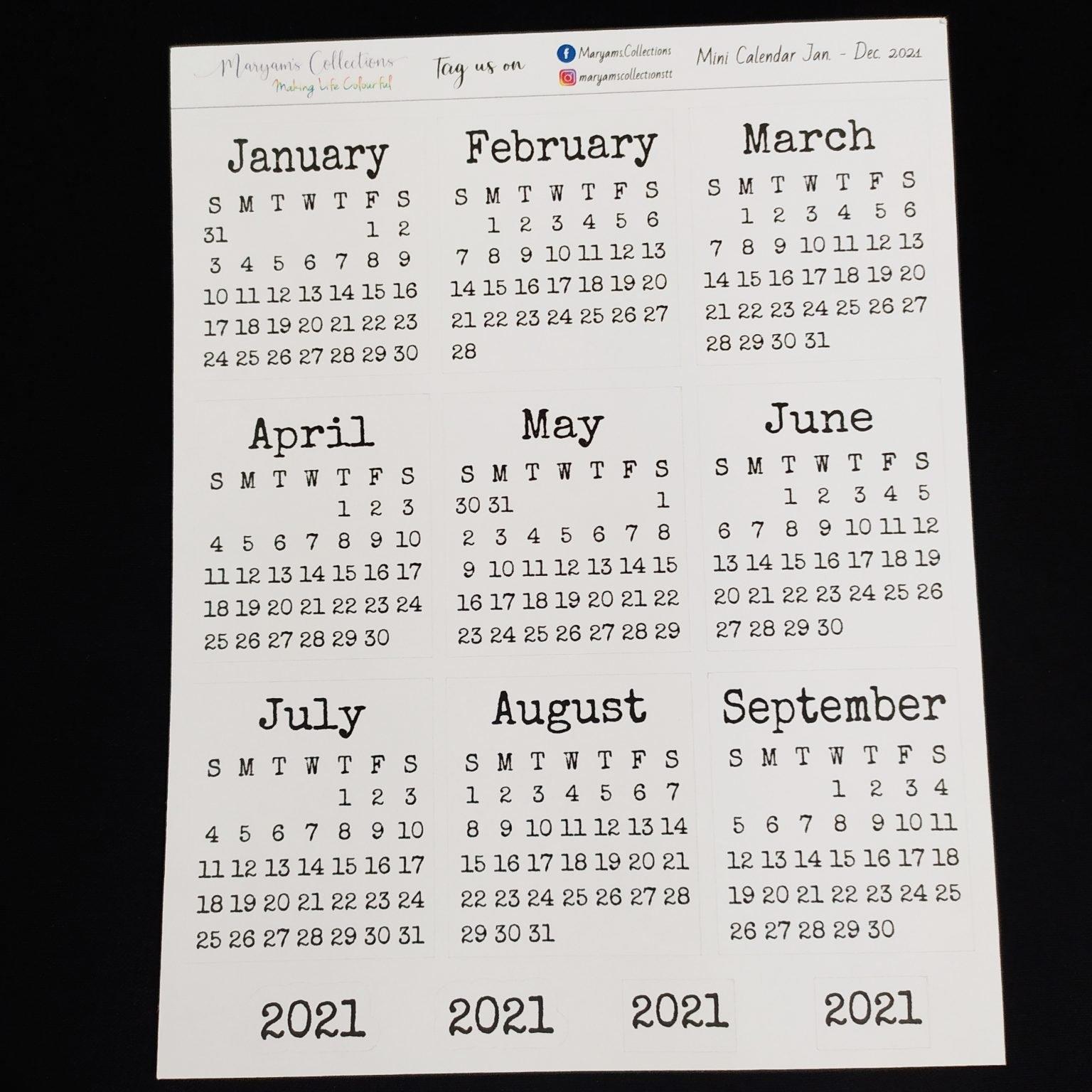 2021 Mini Calendar Stickers - V2 ' - Planting Seeds Digital Pop Up Shop intended for Trinidad And Tobago Holidays 2021 Graphics