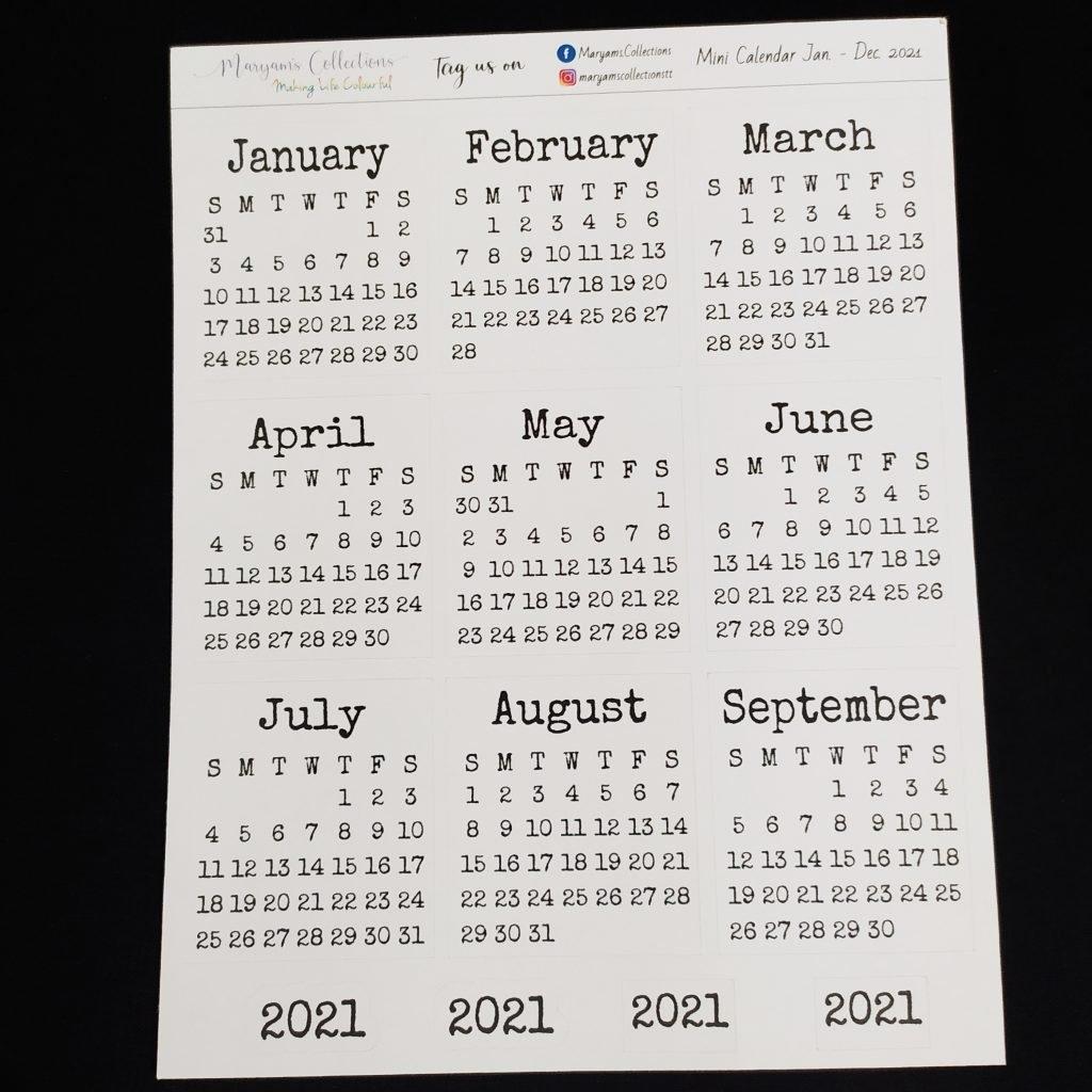 2021 Mini Calendar Stickers - V2 ' - Planting Seeds Digital Pop Up Shop throughout 2021 Calendar Trinidad And Tobago Image