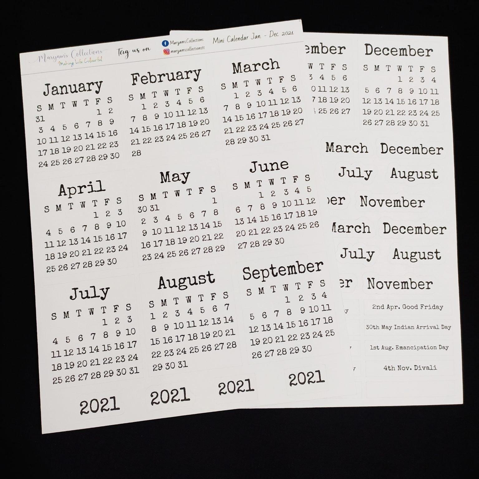 2021 Mini Calendar Stickers - V2 ' - Planting Seeds Digital Pop Up Shop with 2021 Calendar Trinidad And Tobago