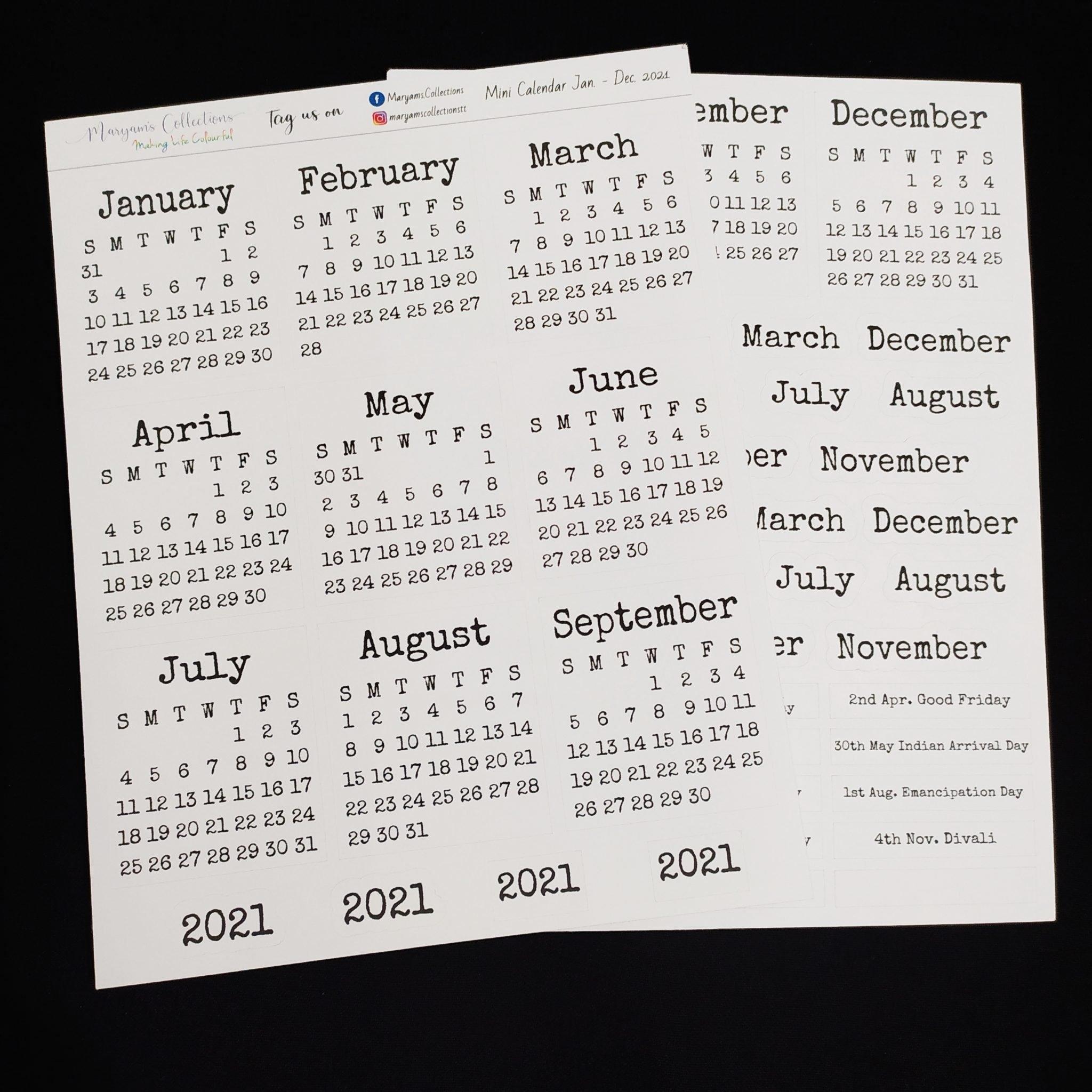 2021 Mini Calendar Stickers - V2 ' - Planting Seeds Digital Pop Up Shop with Trinidad And Tobago Holidays 2021 Graphics