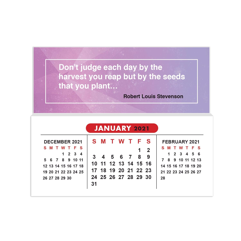 2021 Mini Sticky Calendar: Inspirational Quote Purple with regard to Calendar 2021 Ziua Up Photo