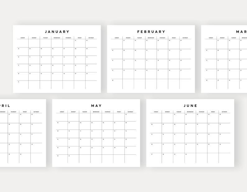 2021 Monthly Calendar Printable Wall Calendar Desk Calendar | Etsy pertaining to 4 5 4 Calendar 2021 Image