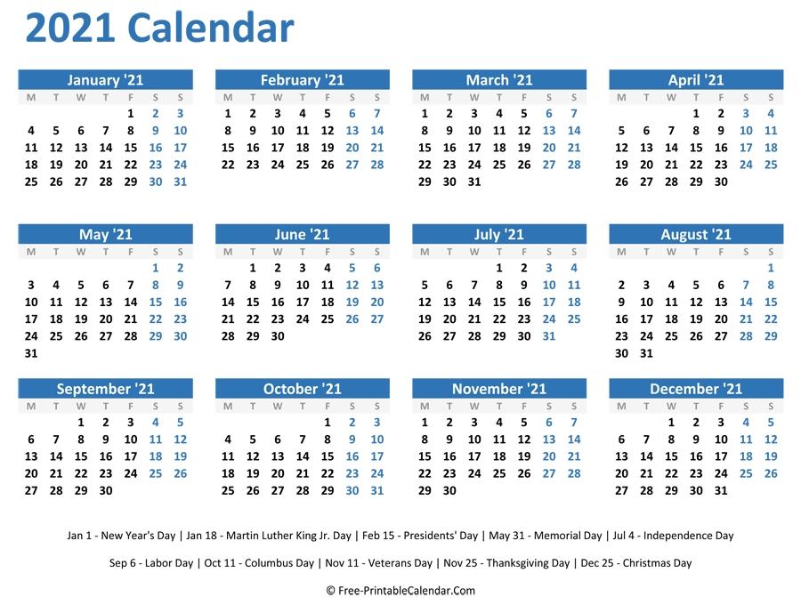 2021 Monthly Calendar Printable Word - Free Printable 8 Week Calendar | Ten Free Printable regarding Printable 2021 Monthly Calendar Template