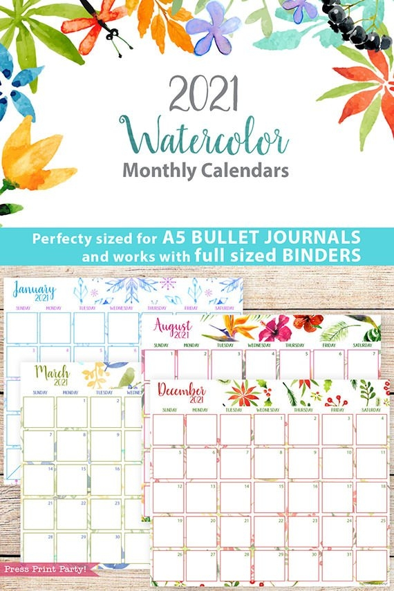 2021 Monthly Printable Calendars, Watercolor - Press Print Party! in Printable Daily Calendar 2021 Graphics