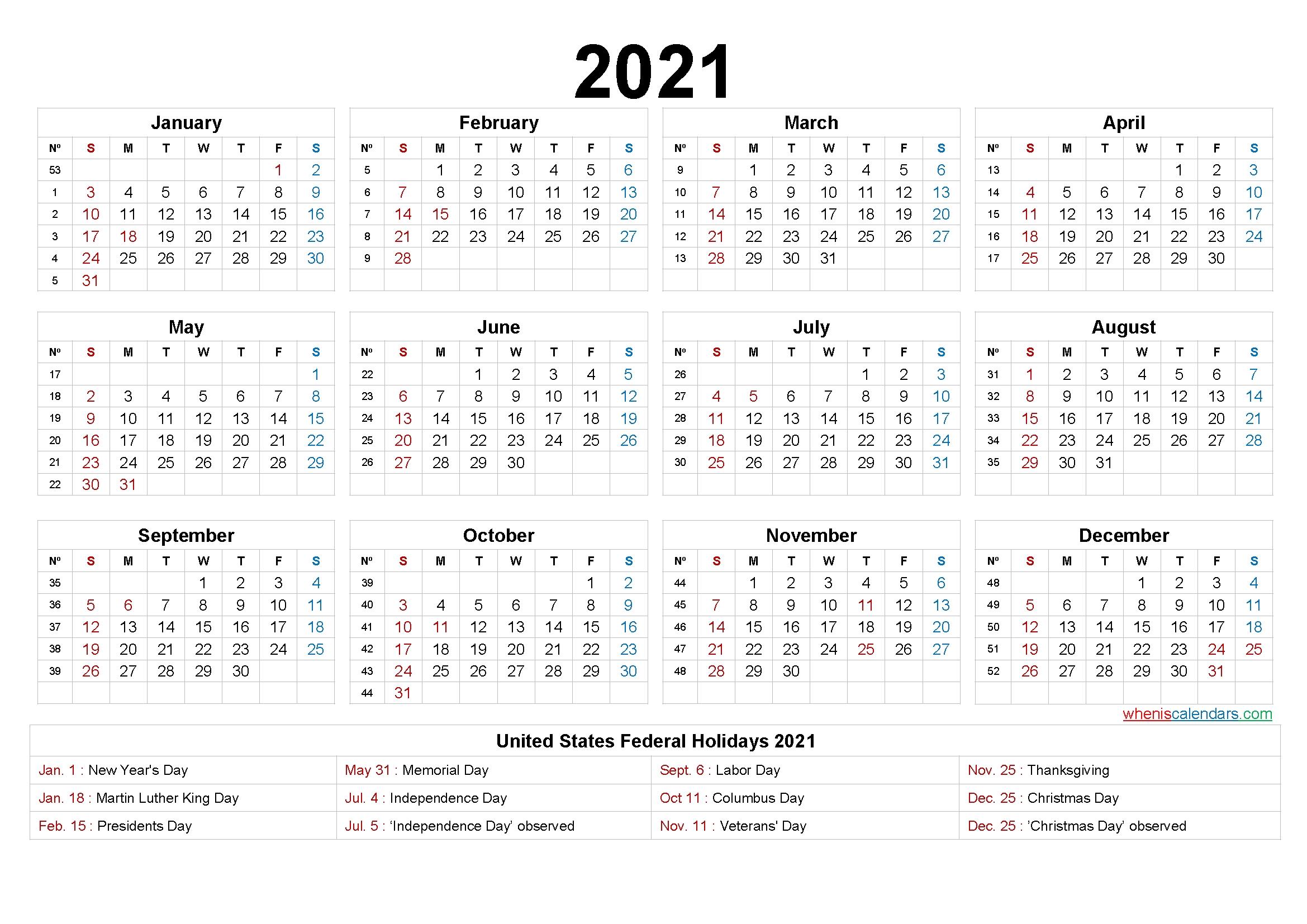 2021 One Page Calendar Printable - 6 Templates   Free Printable 2020 Calendar With Holidays for One Page Photo Calendar 2021 Image