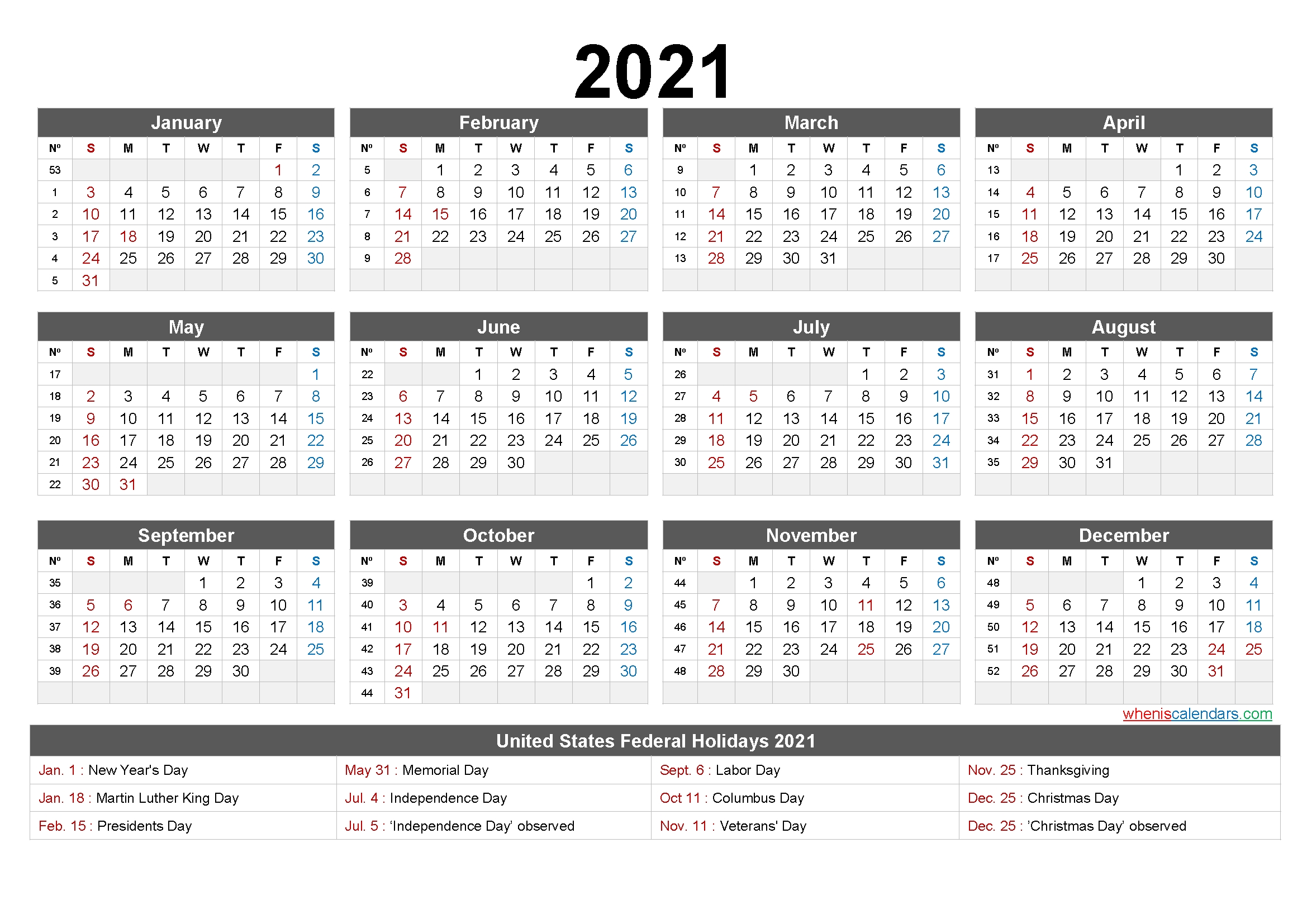 2021 One Page Calendar Printable - 6 Templates   Free Printable 2020 Calendar With Holidays with Calendar Templates 3 Months Per Page 2021 Graphics