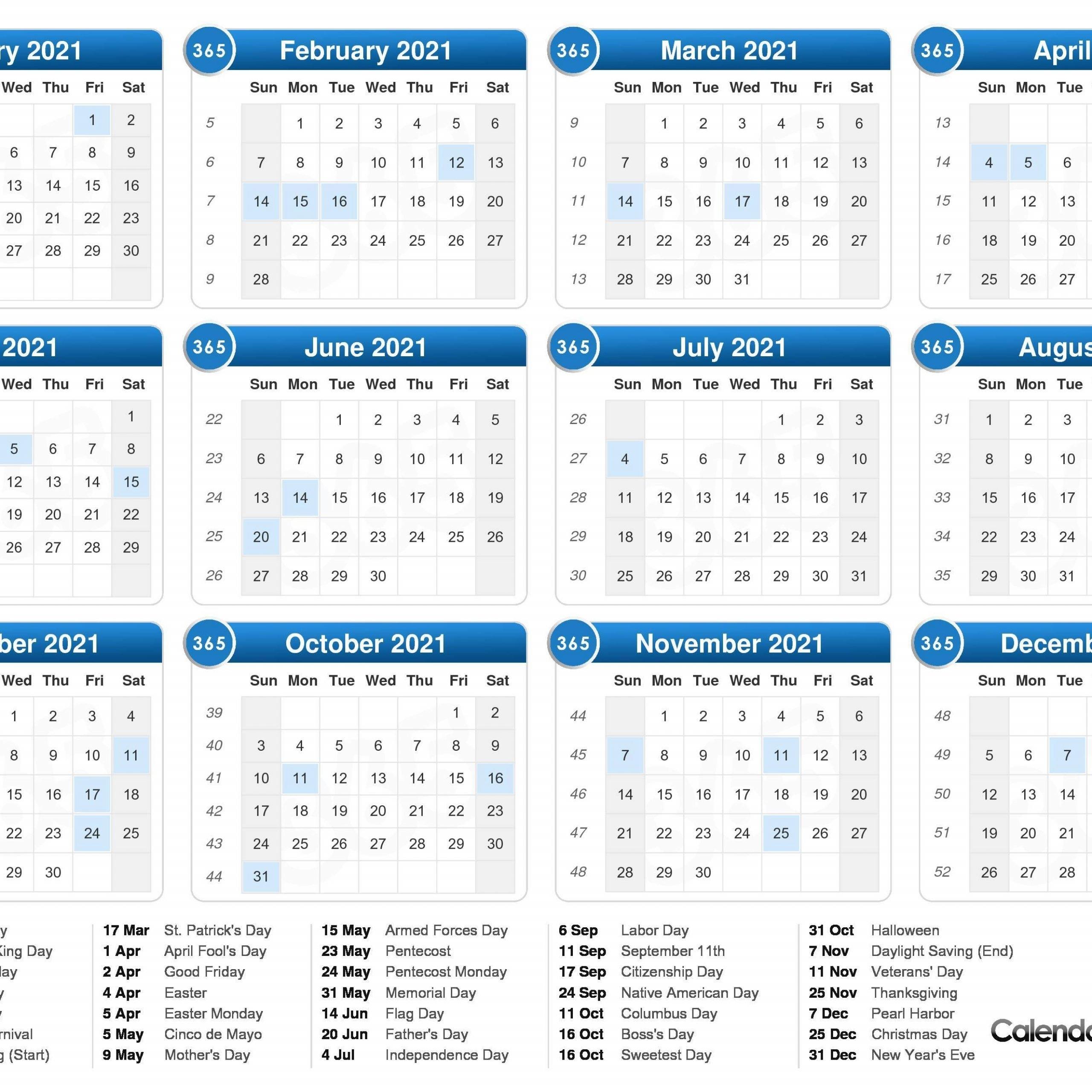 2021 One Page Calendar With Week Numbers | Free Printable Calendar throughout 2021 Julian Calendar Printable Pdf Image