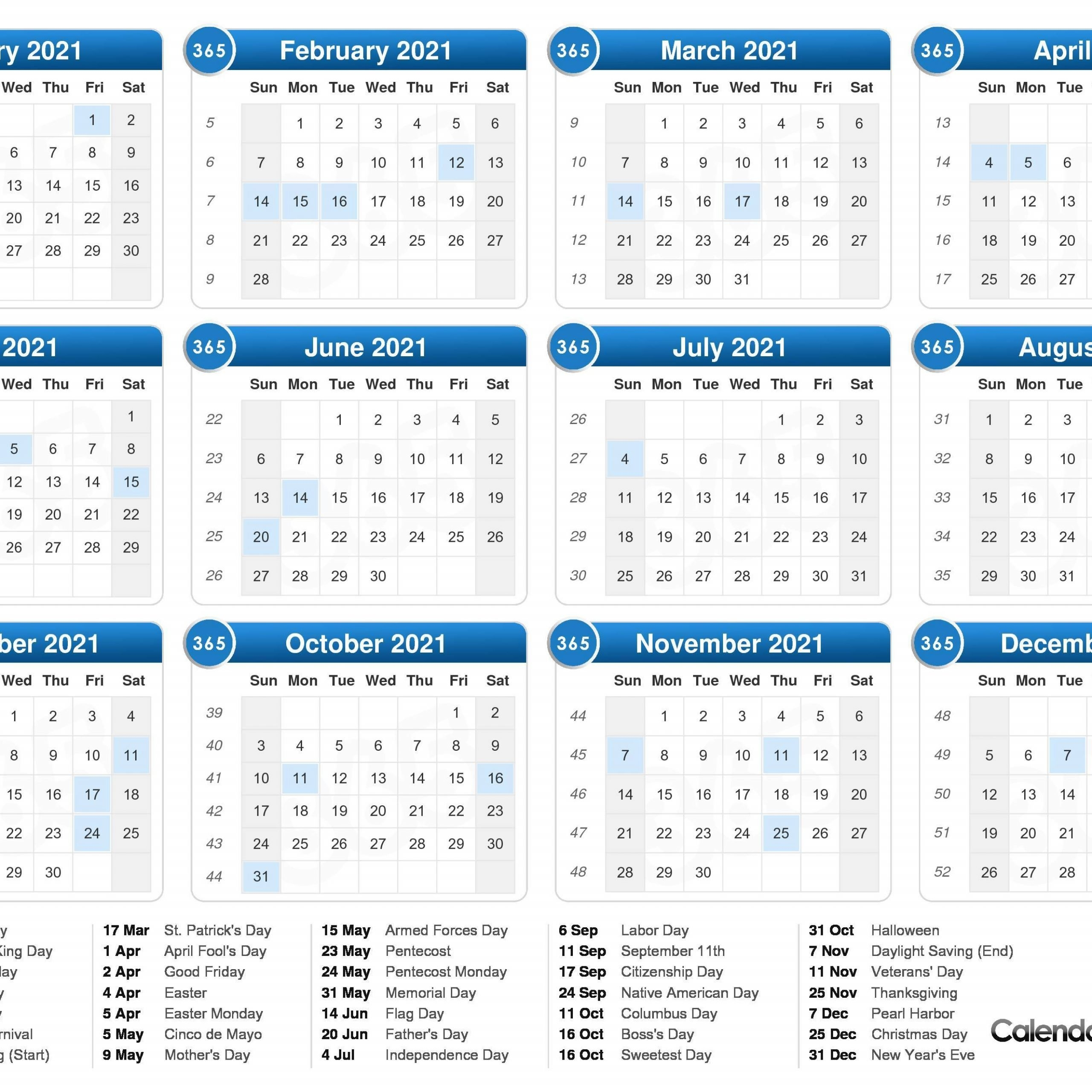 2021 One Page Calendar With Week Numbers | Free Printable Calendar within Printable Weekly Calendar 2021