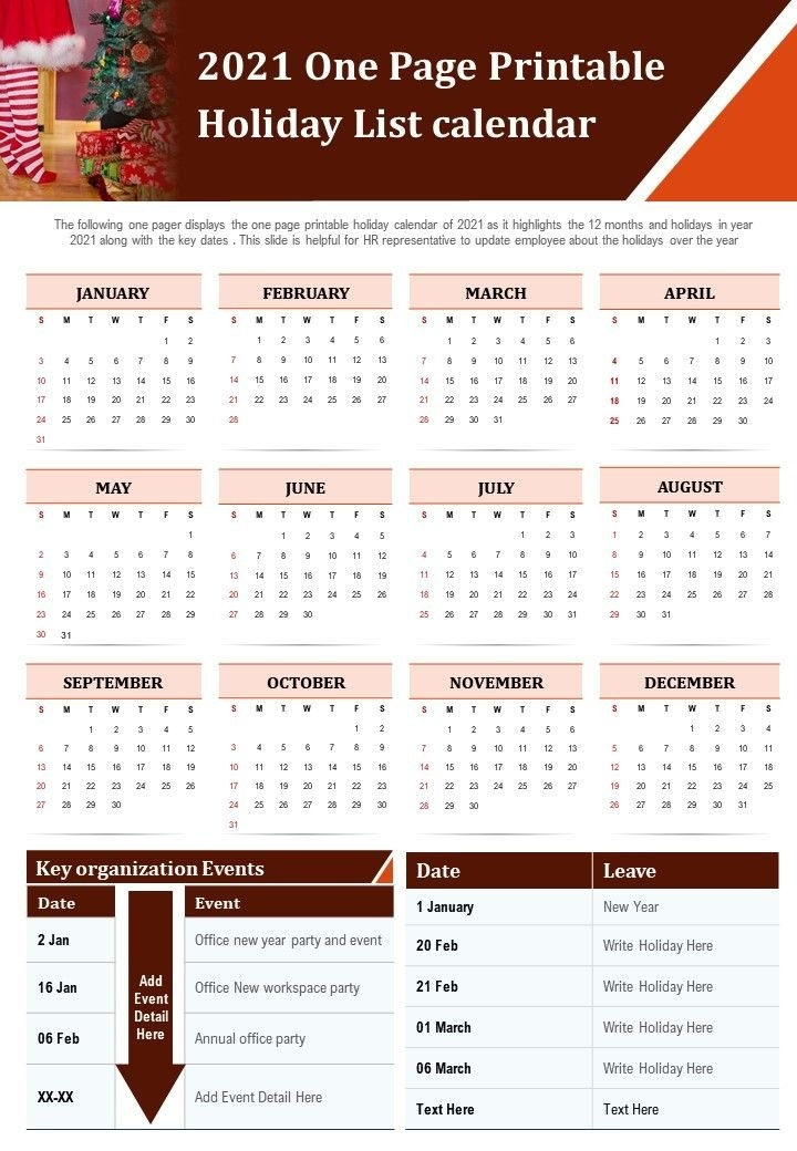 2021 One Page Printable Holiday List Calendar Presentation Report Infographic Ppt Pdf Document in Ppt Calendar Template 2021