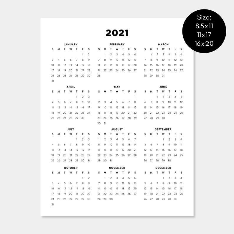 2021 Printable Calendar 2021 Year Planners Digital Download | Etsy regarding 2021 Printable Full Year Calendar Image