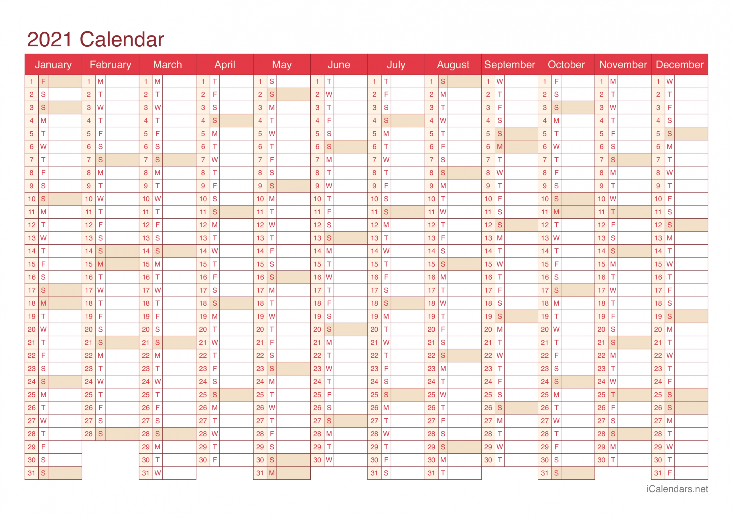 2021 Printable Calendar - Pdf Or Excel - Icalendars in 2021 Calendar In Excel