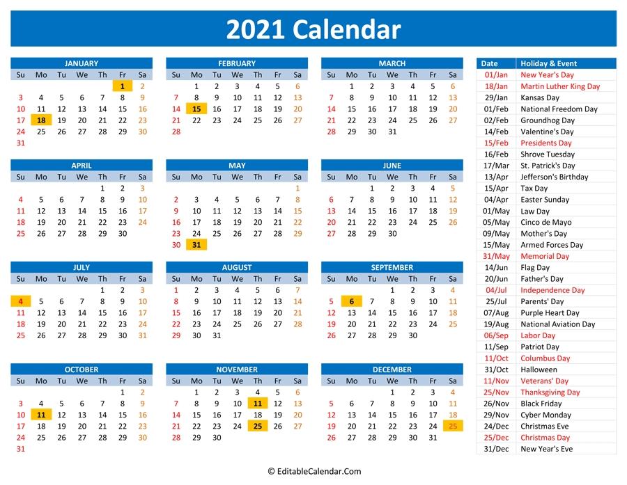 2021 Printable Calendar With Holidays regarding 2021 Monthly Calendar With Holidays Printable Pdf Photo
