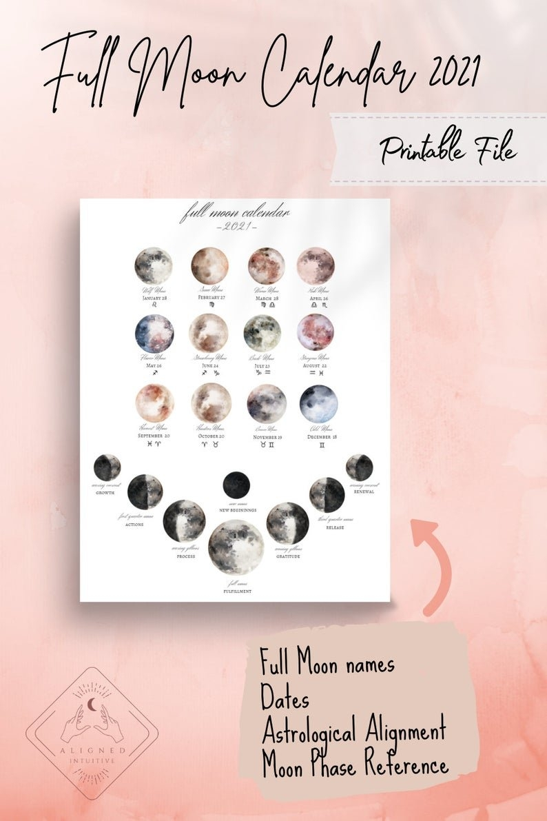 2021 Printable Full Moon Calendar. Lunar Zodiac Celestial | Etsy intended for Full Moon Calendar 2021 Printable