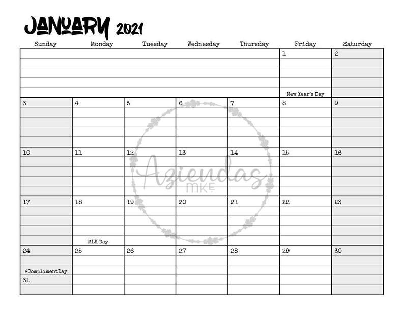 2021 Printable Monthly Calendar 12 Months Instant Download | Etsy in Printable Calendar 2021 With Lines Photo