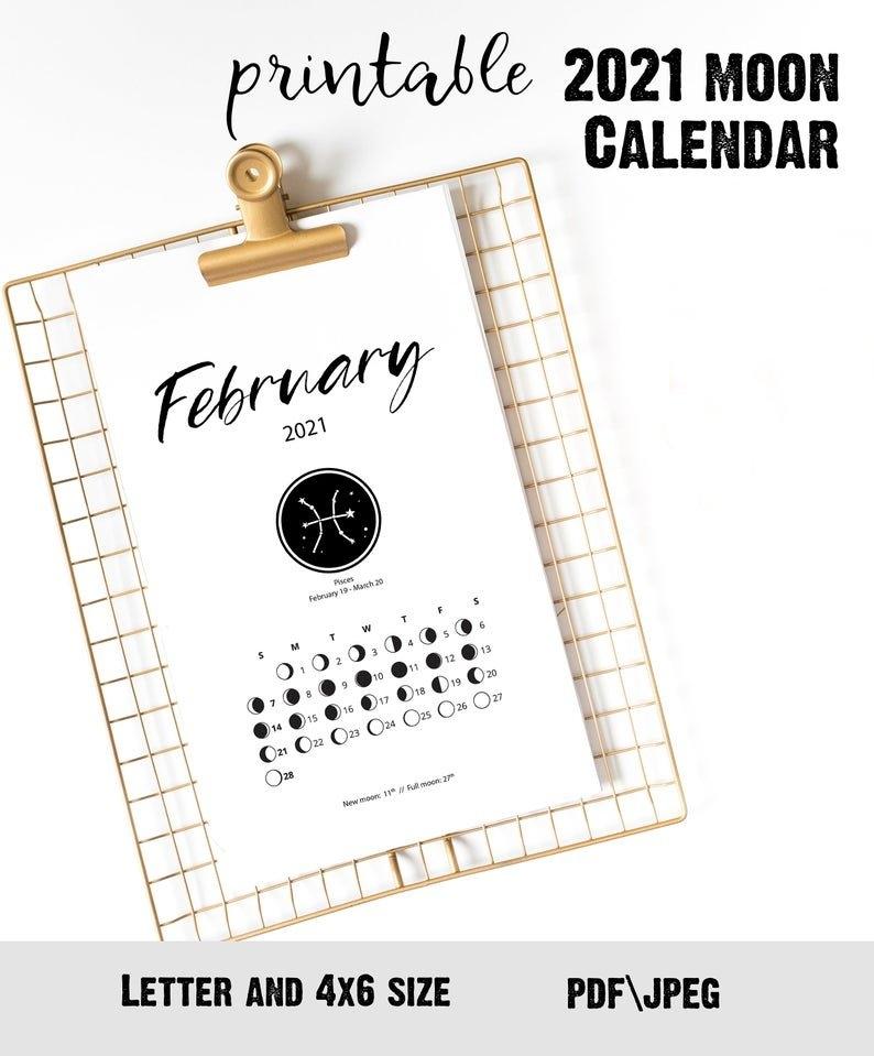 2021 Printable Moon Calendar Сute Desk Accessory For Bullet | Etsy throughout Lunar Calendar 2021 Picture Healer