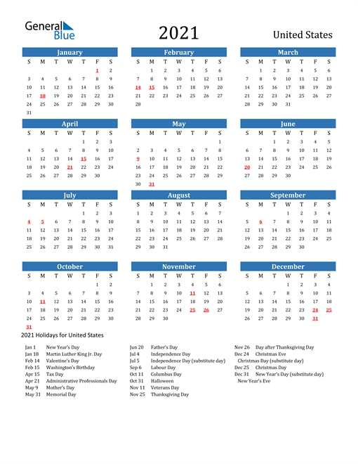 2021 Printable With Holidays within Printable Calendars For 2021