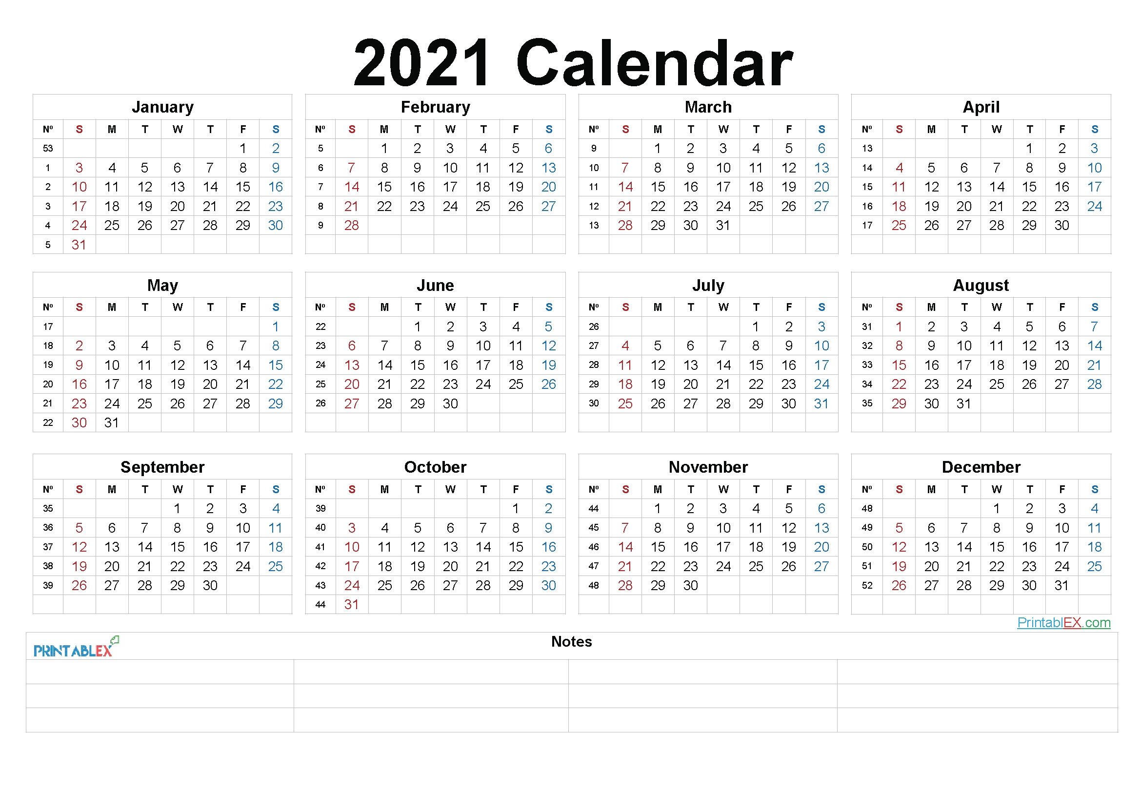 2021 Printable Yearly Calendar With Week Numbers - 21Ytw94 pertaining to Weeks Of The Year Calendar 2021 Graphics
