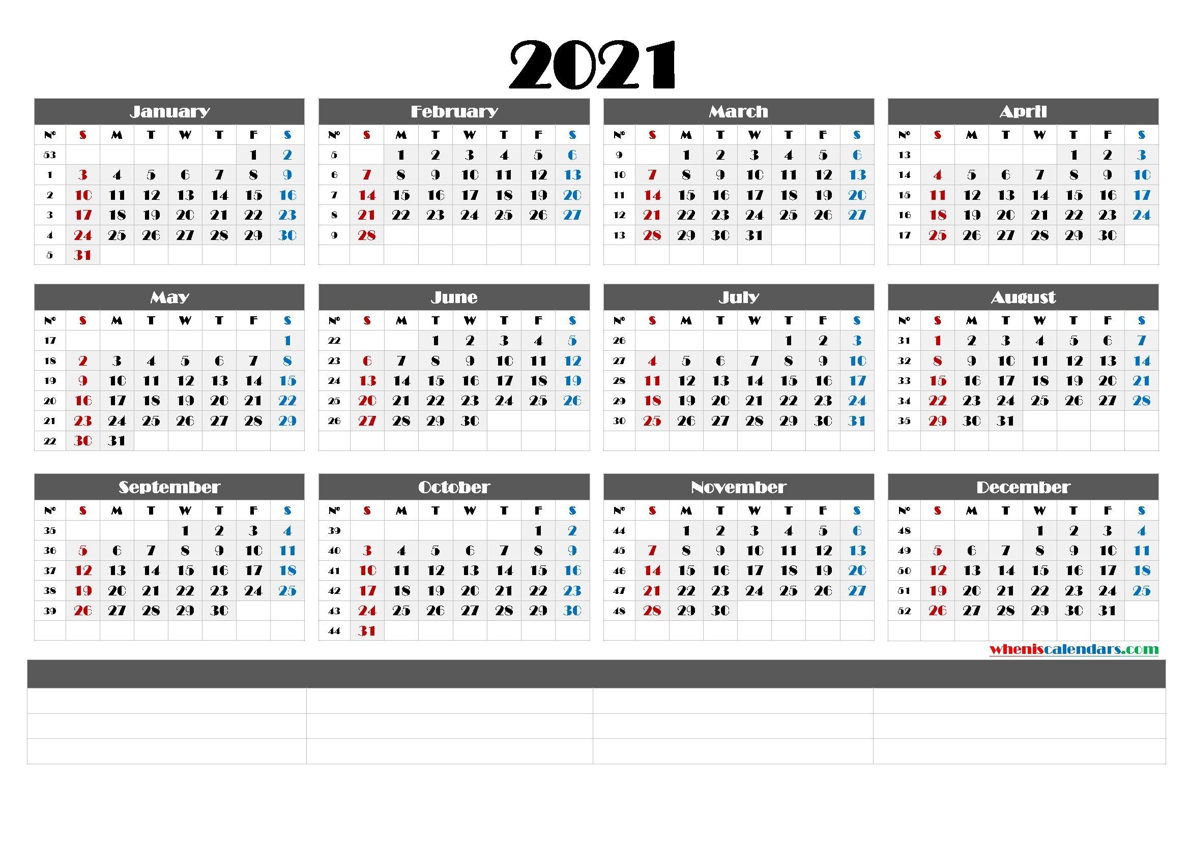 2021 Printable Yearly Calendar With Week Numbers (6 Templates) for Calendar For Year 2021 With Weeks Numbered