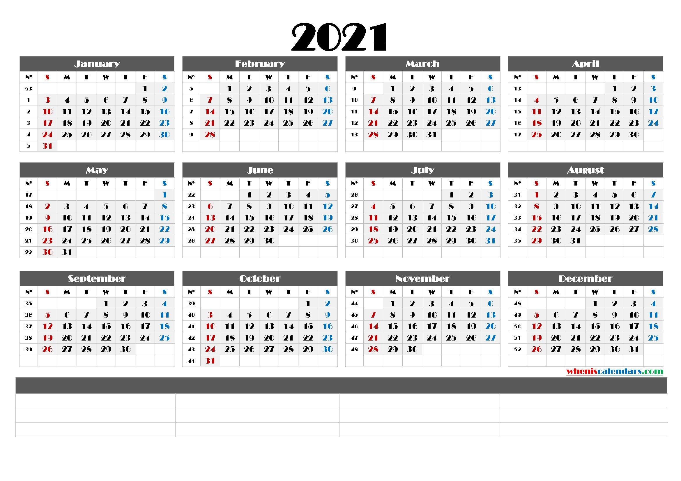 2021 Printable Yearly Calendar With Week Numbers (6 Templates) pertaining to Large Print Free Printable Calendar 2021
