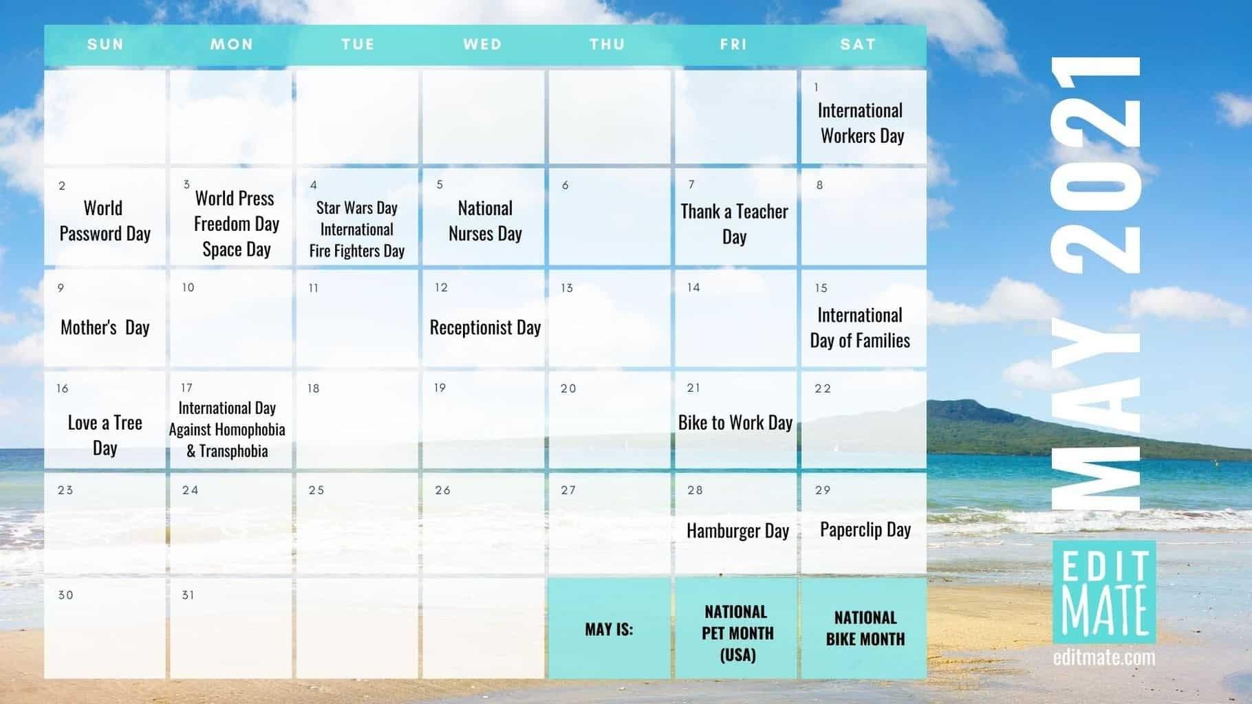 2021 Social Media Holiday Calendar | Editmate in 2021 Broadcast Calendar For Media Graphics