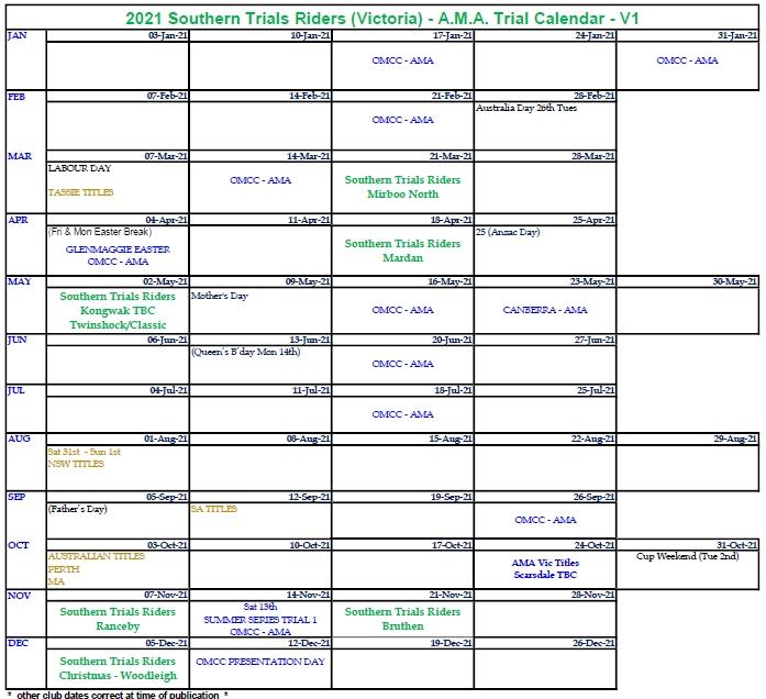 2021 Victorian Ama - Southern Trials Riders Event Calendar   Trials Australia regarding South Australia Calendar 2021