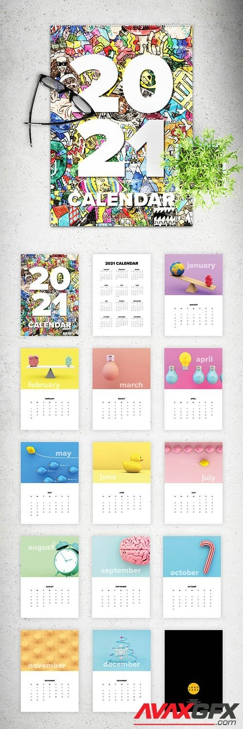 2021 Wall Calendar Layout 350983538 » Avaxgfx - All Downloads That You Need In One Place with Create A 2021 Calendar In Indesign Image