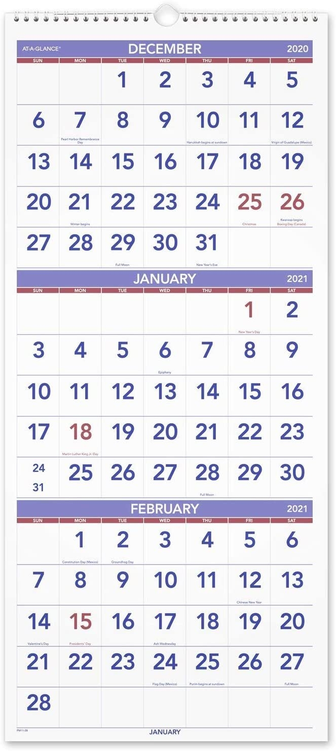 2021 Wall Calendarat-A-Glance, 12 X 27 , Large, Vertical, 3-Month   Ebay intended for Page By Page Large Wall Calendars 2021