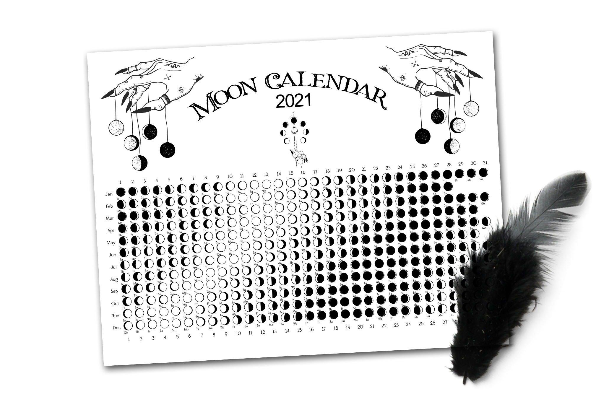 2021 Witch Moon Calendar - Morgana Magick Spell with Lunar Calendar 2021 Picture Healer Image