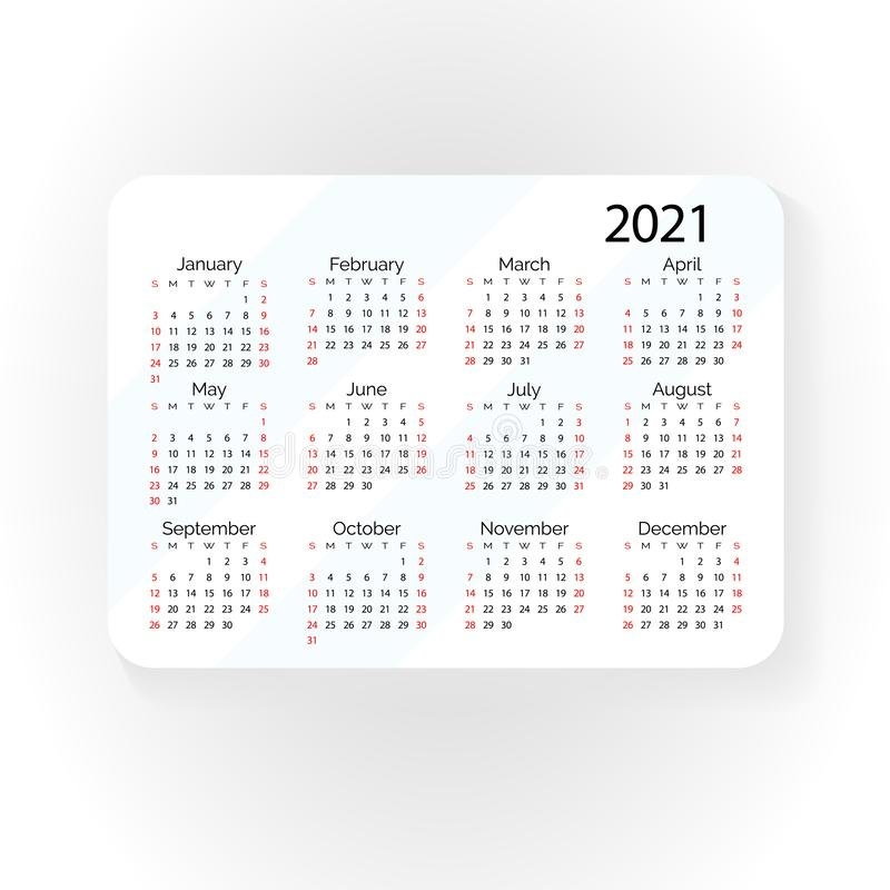 2021 Year Calendar Horizontal Design Stock Vector - Illustration Of Infographic, Event: 121140806 pertaining to Calendar 2021 Design In Illustrator