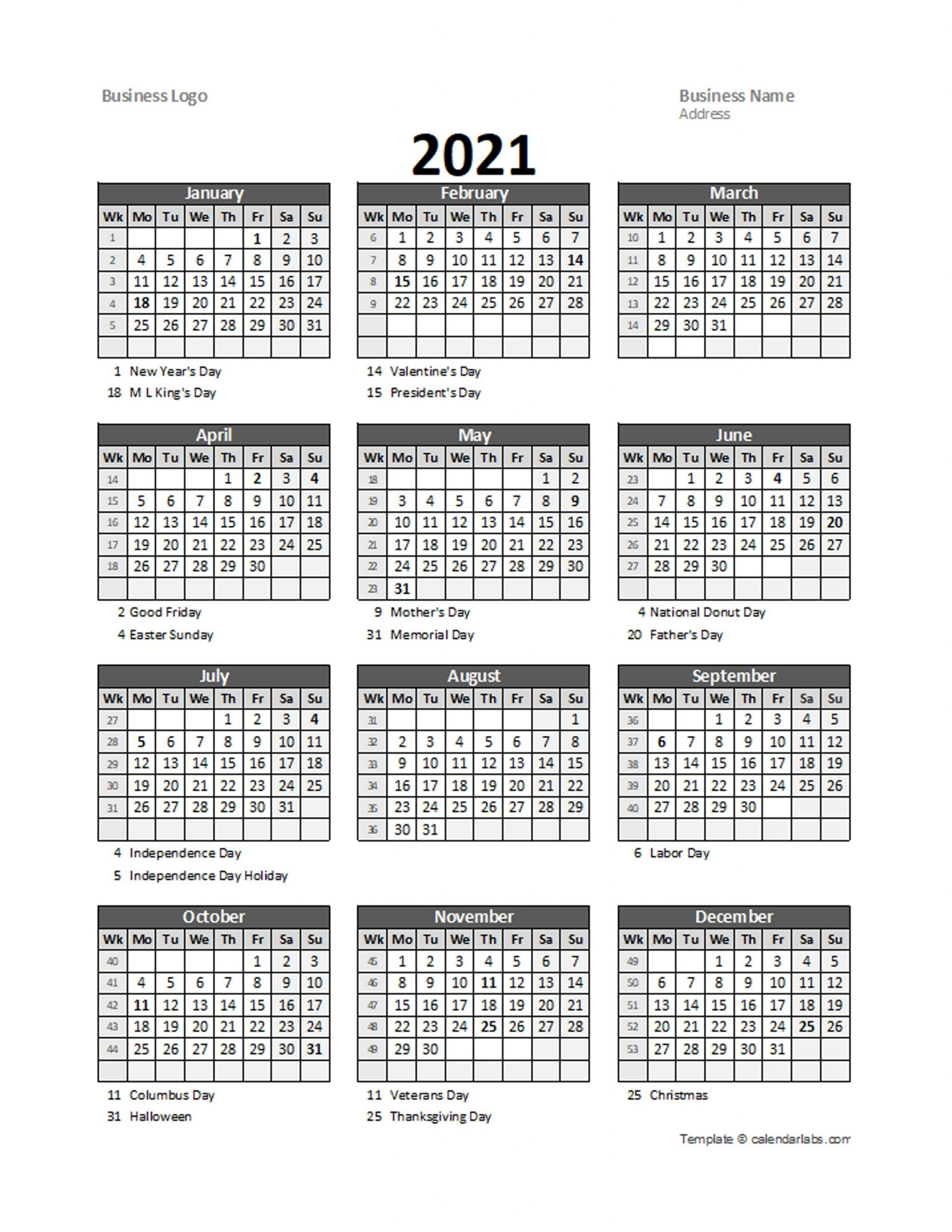2021 Yearly Business Calendar With Week Number - Free Printable Templates within Calendar With Numbered Days 2021