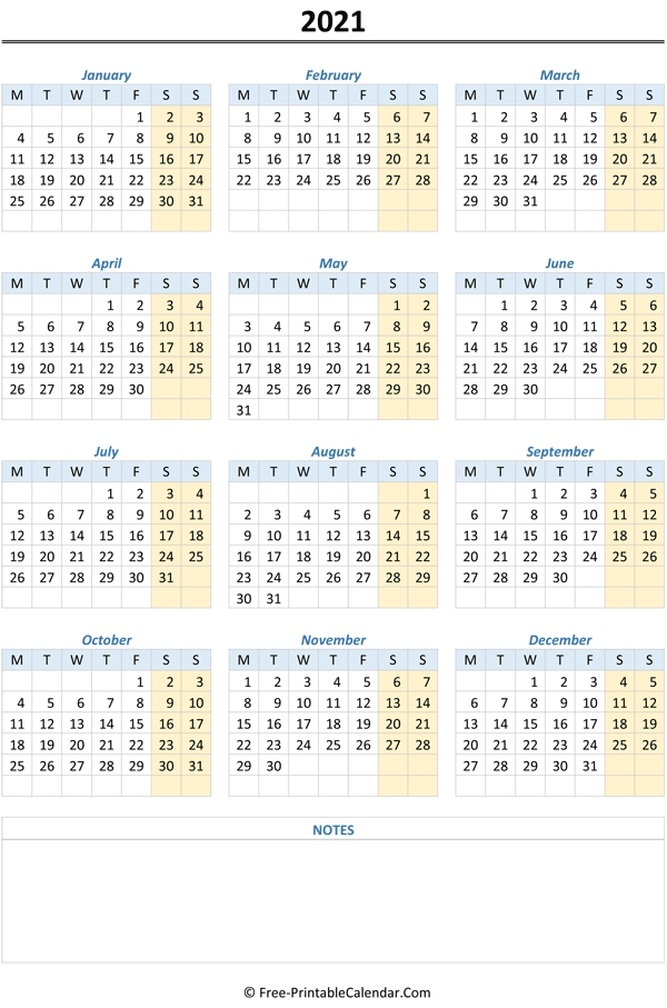 2021 Yearly Calendar in Yearly Calendars 2021 To 2025 Graphics