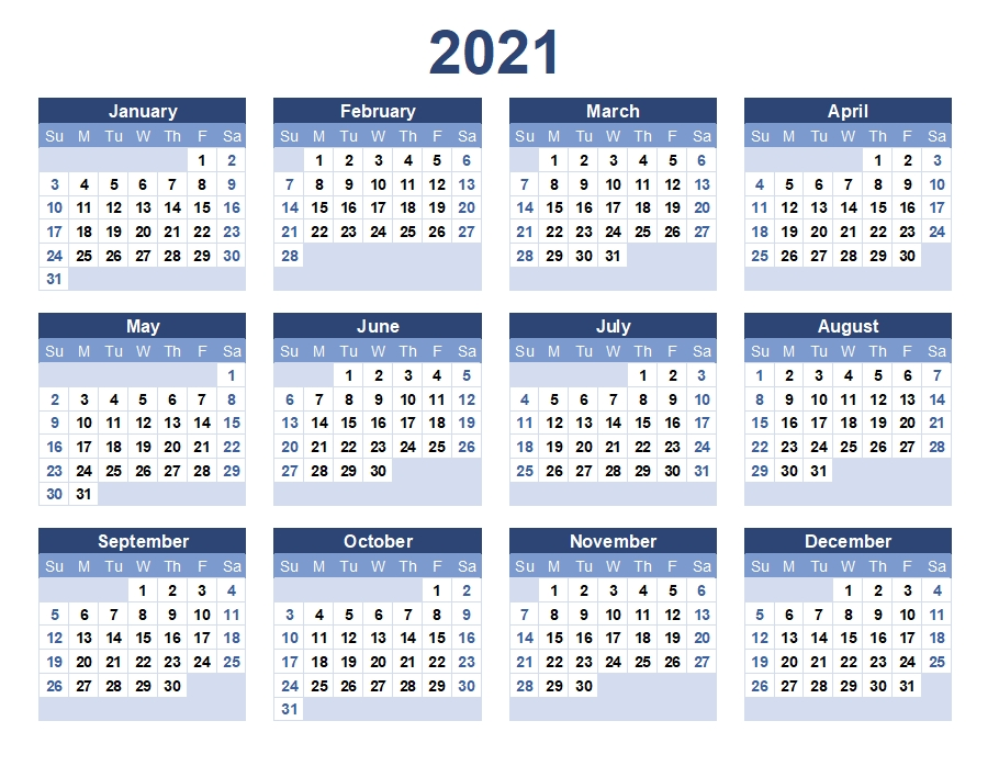 2021 Yearly Calendar Printable   Calendar 2021 throughout Calendar For Year 2021 With Weeks Numbered