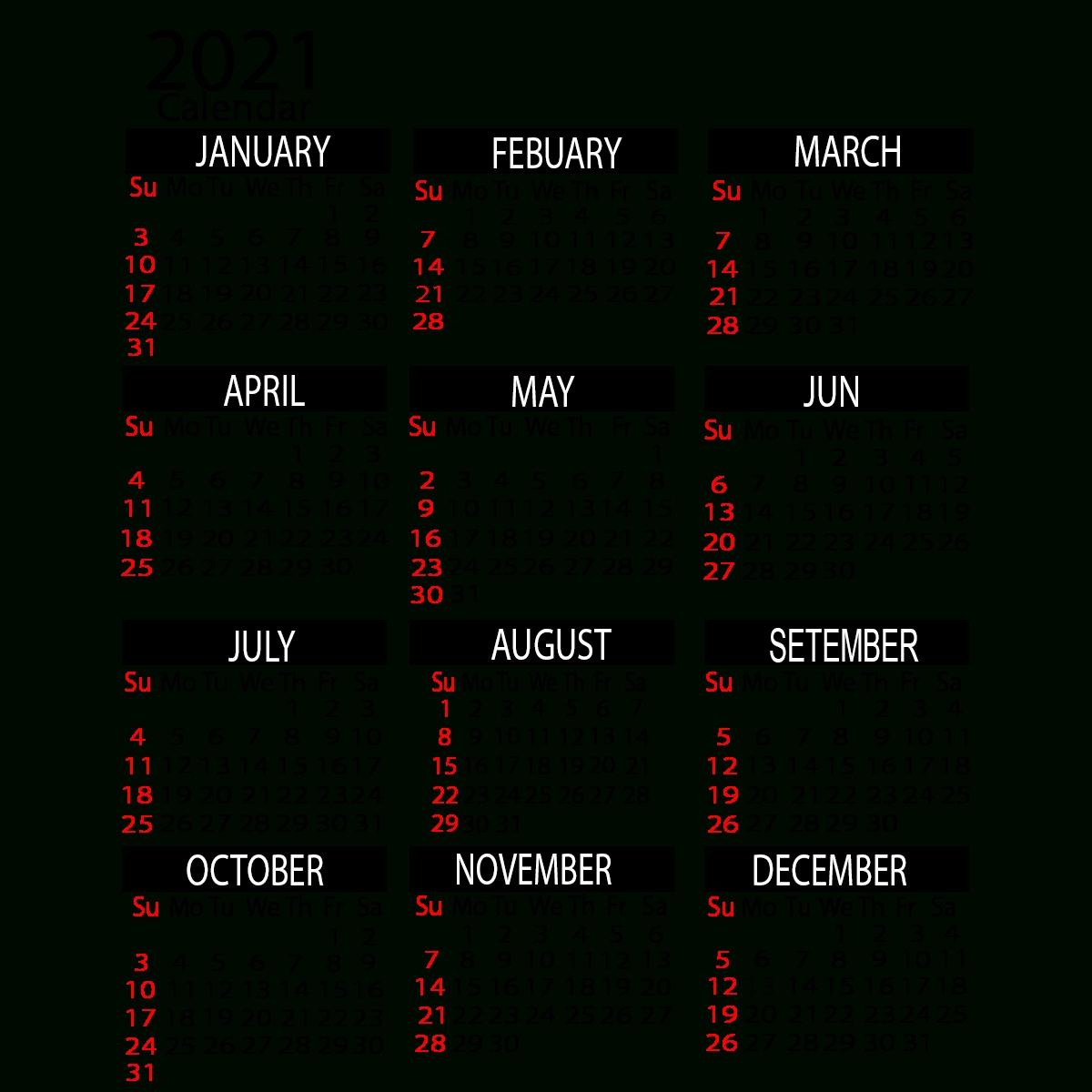 2021 Yearly Calendar Printable | Calendar 2021 with regard to 2021 Calendar With Date Boxes Photo